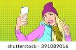 girl taking selfie photo on... | Shutterstock .eps vector #391089016