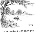 spring in the woods sketch | Shutterstock .eps vector #391089190