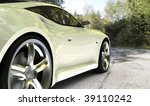 White sports car / sports car on country road - stock photo