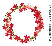 red orchid frame  floral wreath ... | Shutterstock .eps vector #391103734