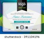 modern certificate blue and... | Shutterstock .eps vector #391104196