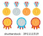 gold  silver  bronze medals in... | Shutterstock .eps vector #391111519