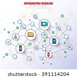 social network infograph with... | Shutterstock .eps vector #391114204