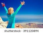 woman successful hiking... | Shutterstock . vector #391120894