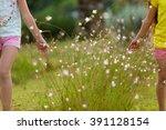 happy little girl running on...   Shutterstock . vector #391128154