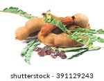 tamarind with leaf isolated on... | Shutterstock . vector #391129243