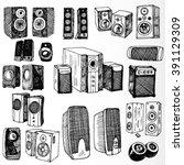 set of speakers hand drawn   Shutterstock .eps vector #391129309