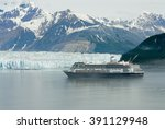 Small photo of Alaskan cruise ship destination vacation with ice glacier background