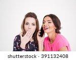 shocked beautiful young woman... | Shutterstock . vector #391132408