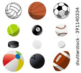 set of twelve sport ball... | Shutterstock .eps vector #391140334