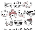 set of cute hipster hand...   Shutterstock .eps vector #391140430