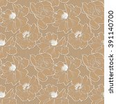white on beige rose lace design ...   Shutterstock . vector #391140700