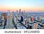 Seattle Aerial Skyline At Sunset
