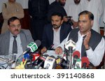 Small photo of PESHAWAR, PAKISTAN - MAR 15: Minister of State for Water and Power, Abid Sher Ali addresses to media persons during press conference at Wapda House on March 15, 2016 in Peshawar.