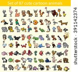 set of 87 cute cartoon animals | Shutterstock .eps vector #391142374