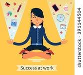success at work. multitasking... | Shutterstock .eps vector #391144504