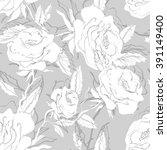 roses seamless pattern | Shutterstock .eps vector #391149400