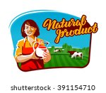 Cow Milk Vector Logo. Milkmaid...
