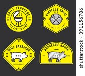 set of barbecue logo  badges ... | Shutterstock .eps vector #391156786
