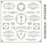 Set of vintage design elements - flourishes and ornamental frames, border, dividers, banners and other heraldic elements for logo, emblem, greeting, invitation, page design, identity design, and etc. | Shutterstock vector #391162648