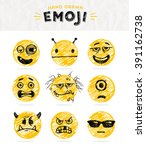 hand drawn set of emoticons.... | Shutterstock .eps vector #391162738