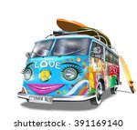 retro bus with surf boards | Shutterstock .eps vector #391169140