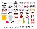 photo booth props template for... | Shutterstock .eps vector #391177210