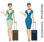cute cartoon stewardess with... | Shutterstock .eps vector #391180186