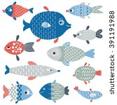 set of fish art  flat style... | Shutterstock .eps vector #391191988