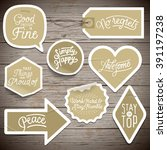 stickers on rustic wood... | Shutterstock .eps vector #391197238