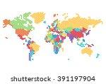 dotted world map of hexagonal... | Shutterstock .eps vector #391197904