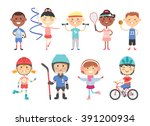 Sport Kids Characters With Toy...