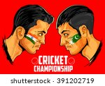 illustration of cricket players ...   Shutterstock .eps vector #391202719