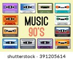 collection of retro colored... | Shutterstock .eps vector #391205614