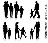 black silhouettes family on... | Shutterstock .eps vector #391210516