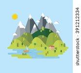summer landscape. houses in the ... | Shutterstock .eps vector #391212334