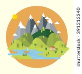 summer landscape. houses in the ... | Shutterstock .eps vector #391212340