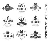 fitness logos templates set.... | Shutterstock .eps vector #391218070