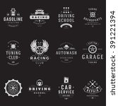 car service logos templates set.... | Shutterstock .eps vector #391221394