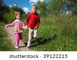 two children run on path in... | Shutterstock . vector #39122215