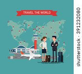 travel the world vector concept ... | Shutterstock .eps vector #391232080