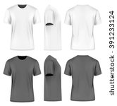 men's short round neck t shirt .... | Shutterstock .eps vector #391233124