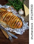 roasted baguette with garlic ... | Shutterstock . vector #391249030