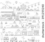 city in line art  flat icons... | Shutterstock .eps vector #391255240