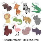 set of cute cartoon animals... | Shutterstock .eps vector #391256698