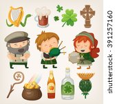 set of colorful irish vector... | Shutterstock .eps vector #391257160