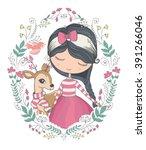 cute girl and little deer...   Shutterstock .eps vector #391266046