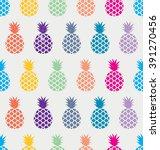 exotic pineapple pattern.... | Shutterstock .eps vector #391270456