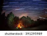 star tracks over the forest and ... | Shutterstock . vector #391295989