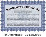 sample warranty certificate... | Shutterstock .eps vector #391302919